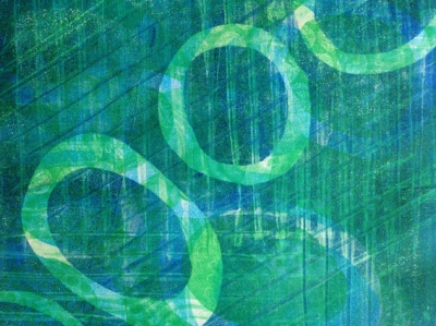 Textured green gelli-print circles