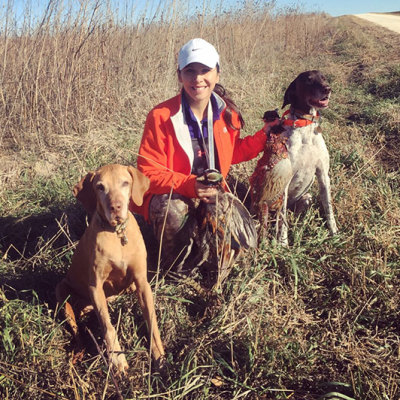 Destiny Valladares training hunting dogs