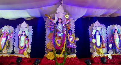 Debi Durga in full splendour at AMADER PUJO.