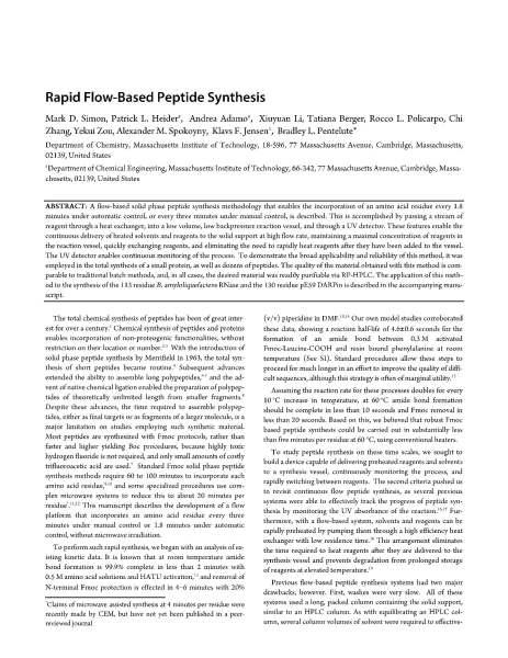 Rapid Flow Based Peptide