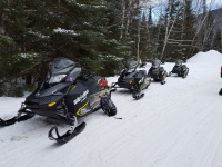 Snowmobiles lined up on side of trail