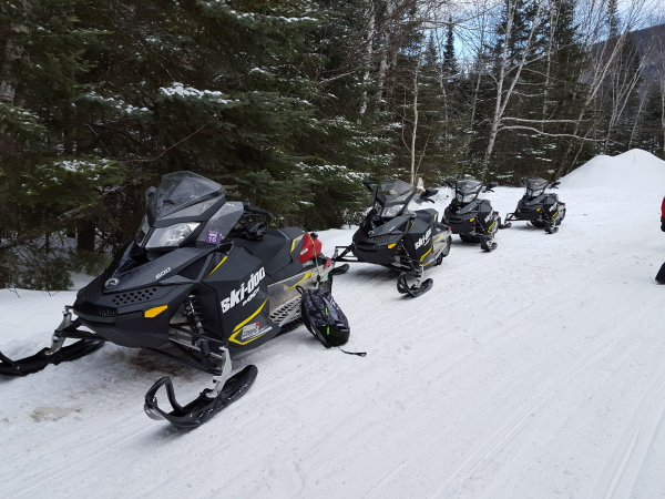 snowmobile in a line