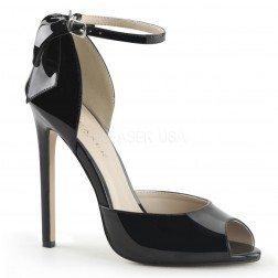 Pleaser Shoes Sexy-16 Black Patent Ankle Strap D'Orsay Court Shoes With Stiletto Heels