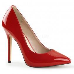 Pleaser Shoes Amuse-20 Red Patent Hidden Platform Court Shoes
