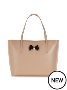 Ted Baker Bow Detail Leather Crosshatch Shopper
