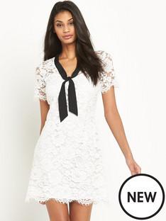 V by Very Lace Tie Neck Shift Dress