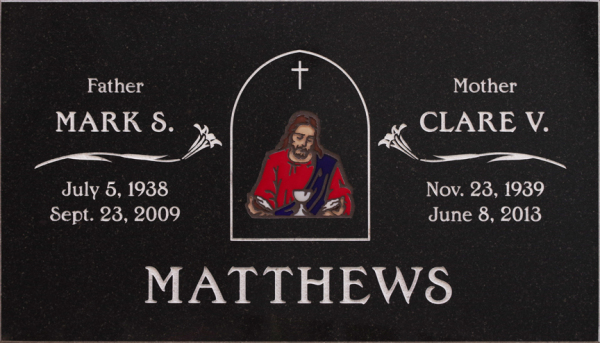 Custom Color Memorials, Color Memorials, Permanent, Beautifull, colorfull, Inlays, headstones, Glass Inlays
