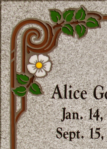 Cemetary Art, Colored Inlays, Memorial, Memorial Inlays