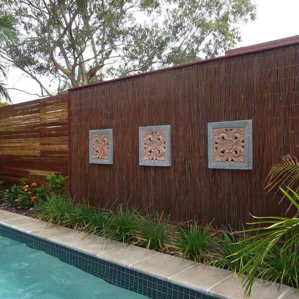 Balinese style decorative fence panel