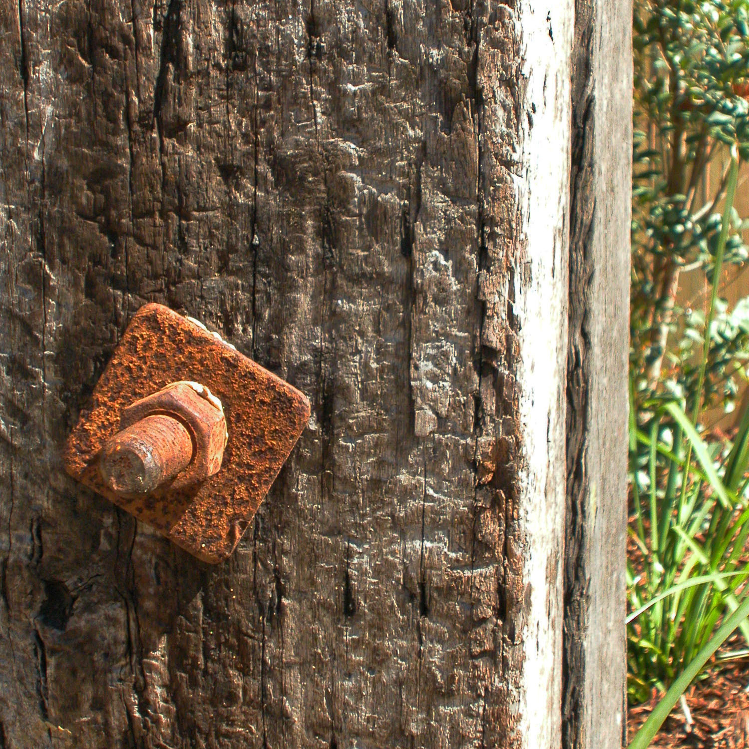 Recycled timber post with rusted bolt feature