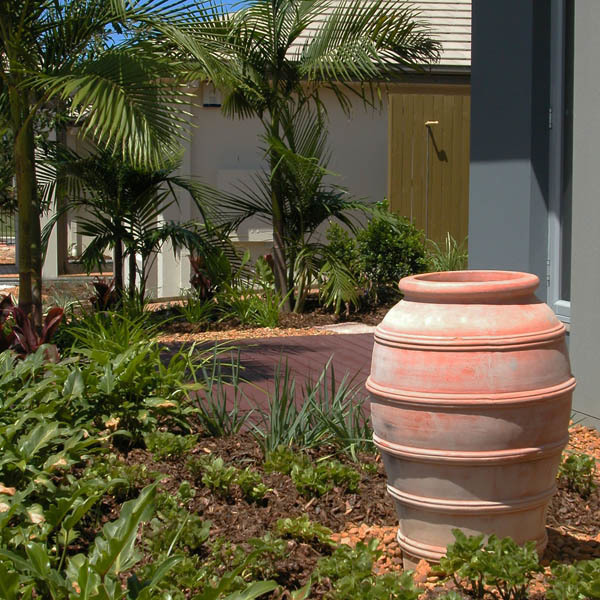 Feature urn in a private garden space