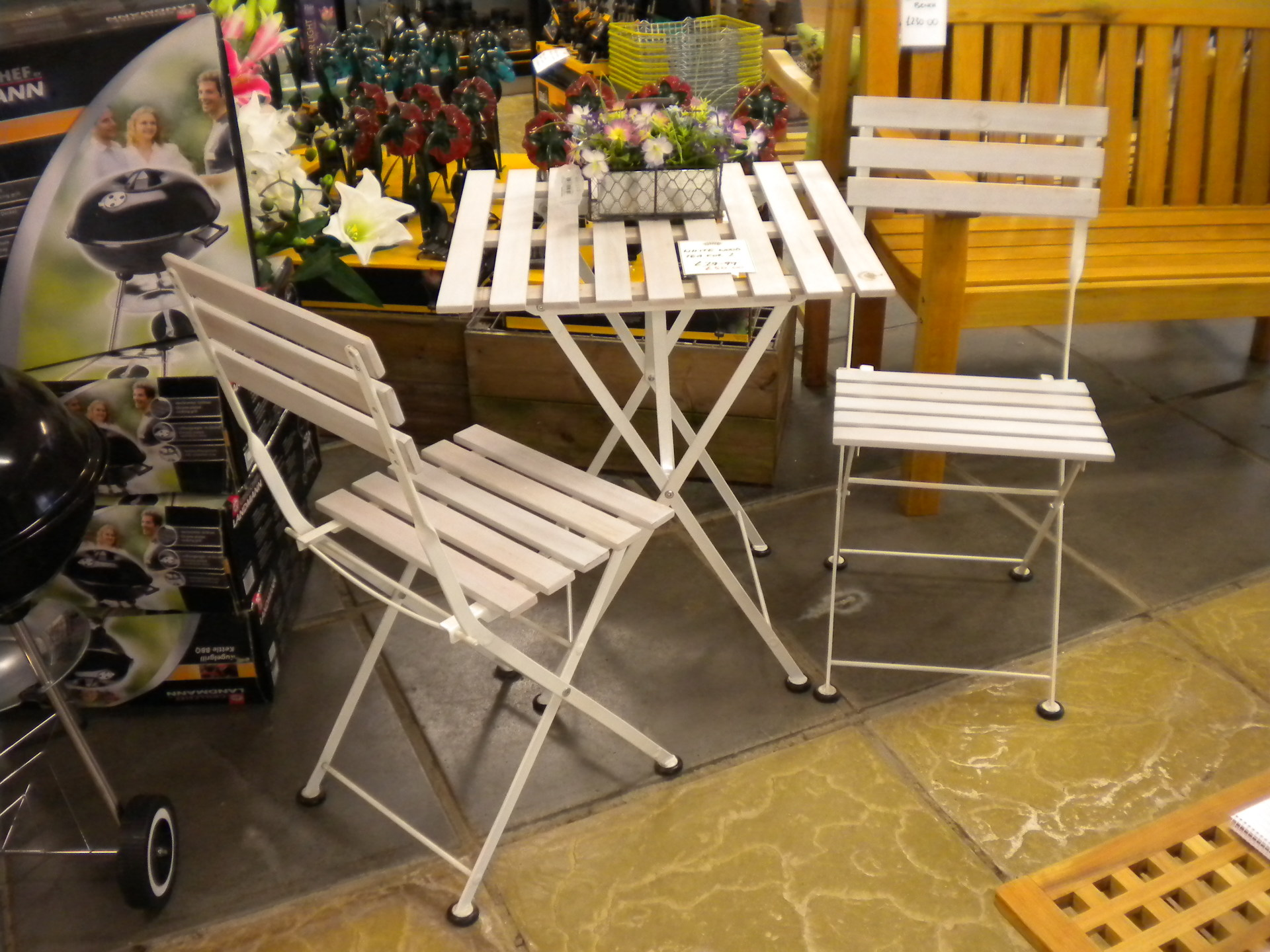 White wood bistro set - was £79.99, now £60