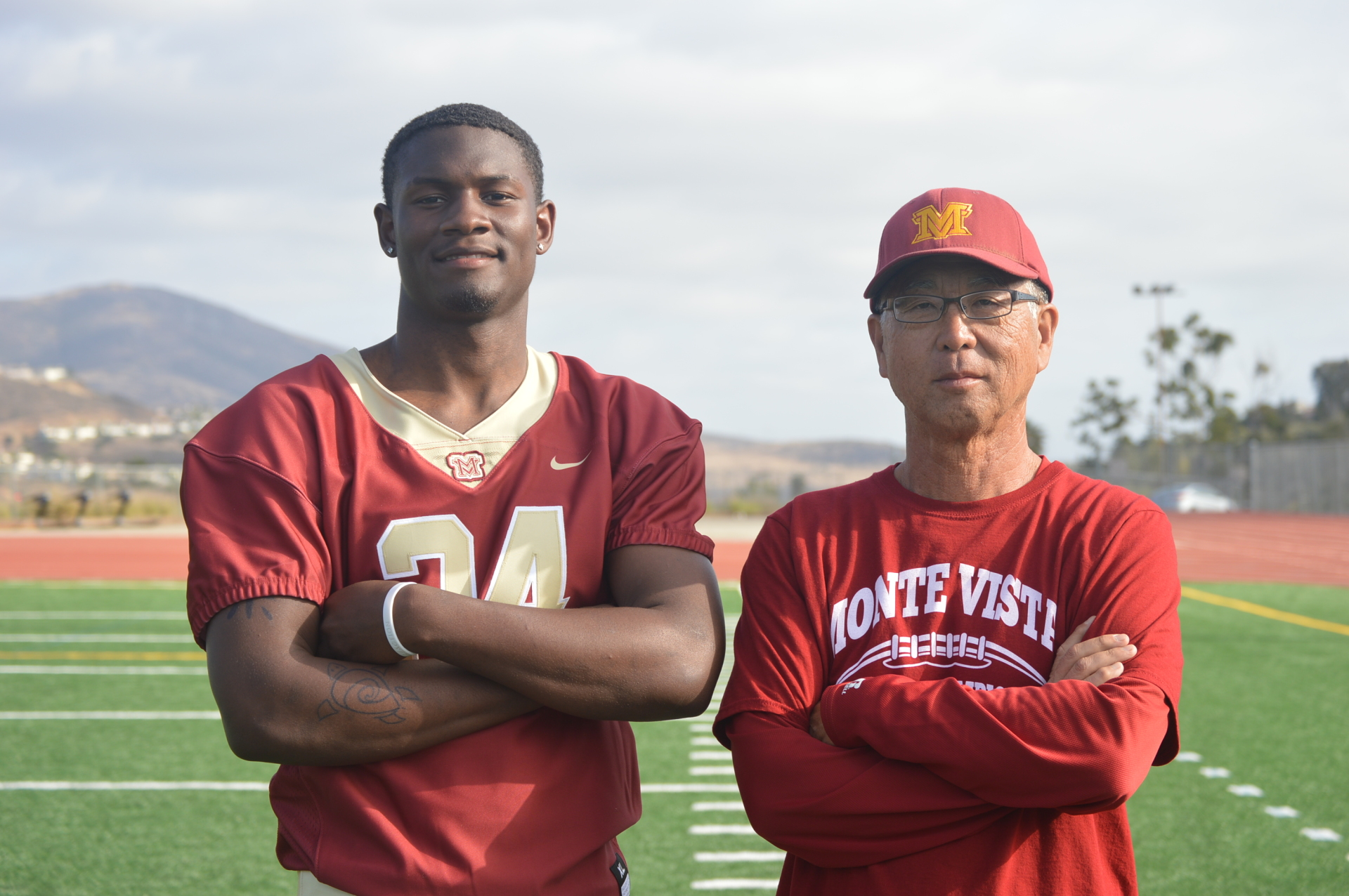 Monte Vista's Jahmon McClendon with Head Coach Ron Hamamoto