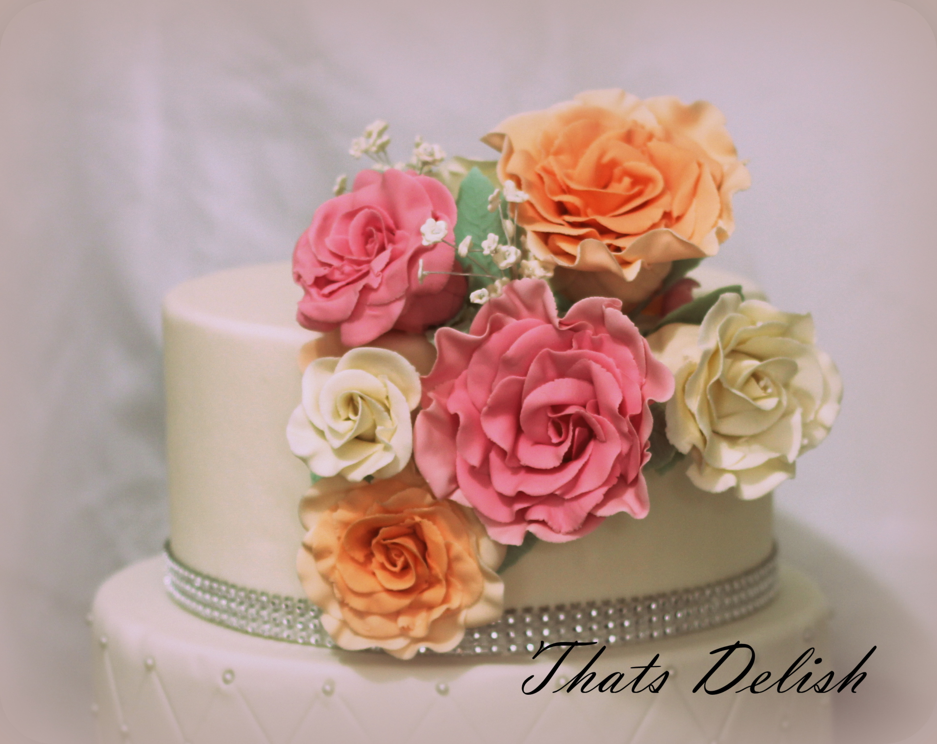 WEDDING FLOWERS CAKE TOPPER