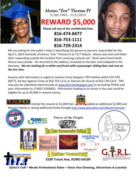 Alonzo Thomas IV Reward Flyer