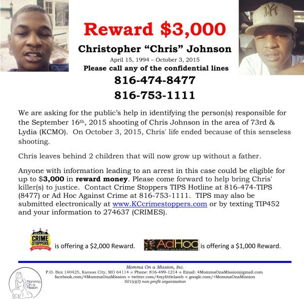 Christopher Johnson - $3,000 Reward Flyer