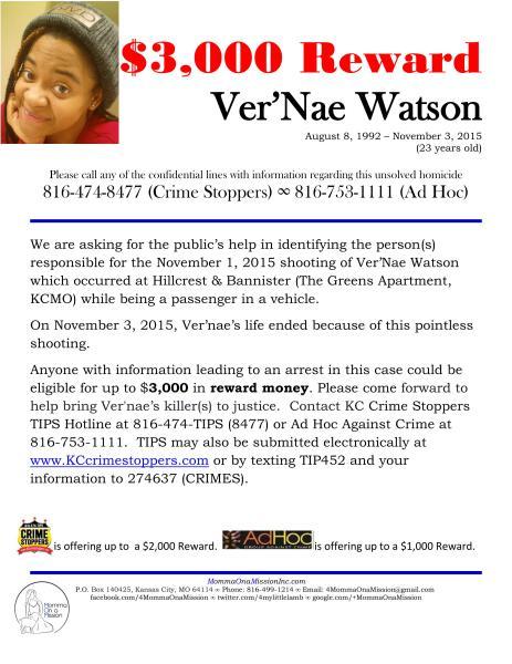 Ver'Nae Watson - $3,000 Reward Flyer