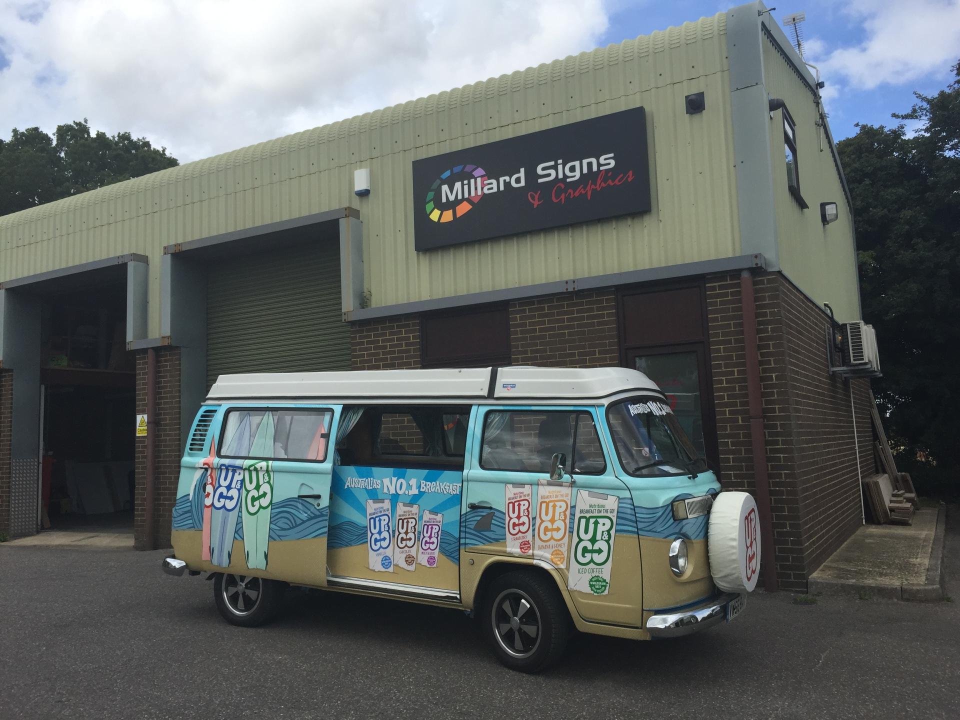 millard signs, van, van wrapping, vehicle, vehicle wrapping, red, grey, black, creative graphics, wilshire, corsham