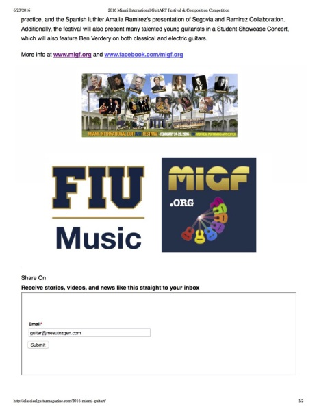 2016 Miami International GuitART Festival & Composition Competition