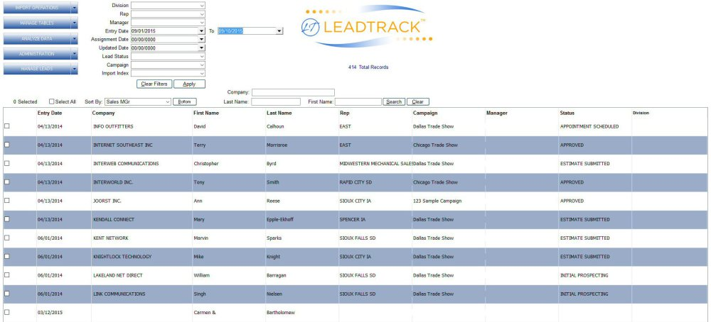 LEADTRACK Dashboard