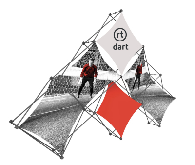 Dart shape fabric pop up stand.