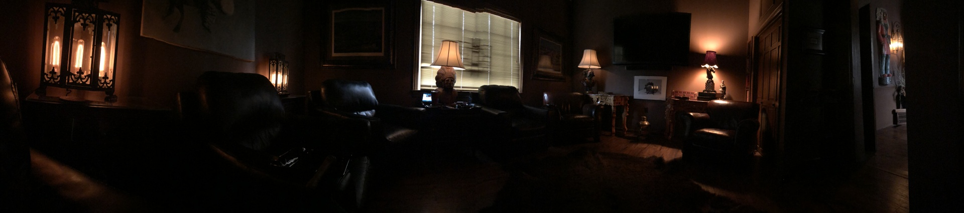 Panoramic from inside the lounge interior