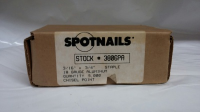 "Spotnails 3806PA 18 Gauge Narrow Crown 3/4"" long Aluminum • 5M / Box $10.00"