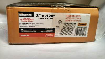 "Plastic Collated Nails Bostitch 21 Degree 3"" RS Stainless Steel 2M / Box $80.00"