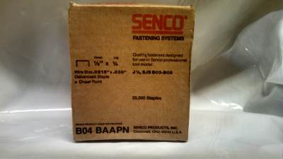 "Senco B04BAAPN 22 GA 1/4"" X 1/2"" 22 GA Galvanized Staple 10M  / Box $11.00"