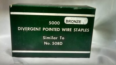 "1/4"" Bronze Divergent Pointed Wire Staples (Similar to 508D) 5M / Box $25.00"