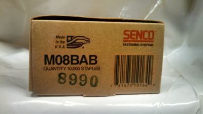 "Senco M08BAB 1/2"" X 3/8"" 18 GA Galvanized Staple 10M / Box $12.00"