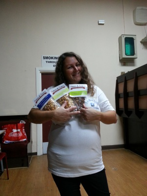 Writer and Co-Producer Perri showing off our supporter donations
