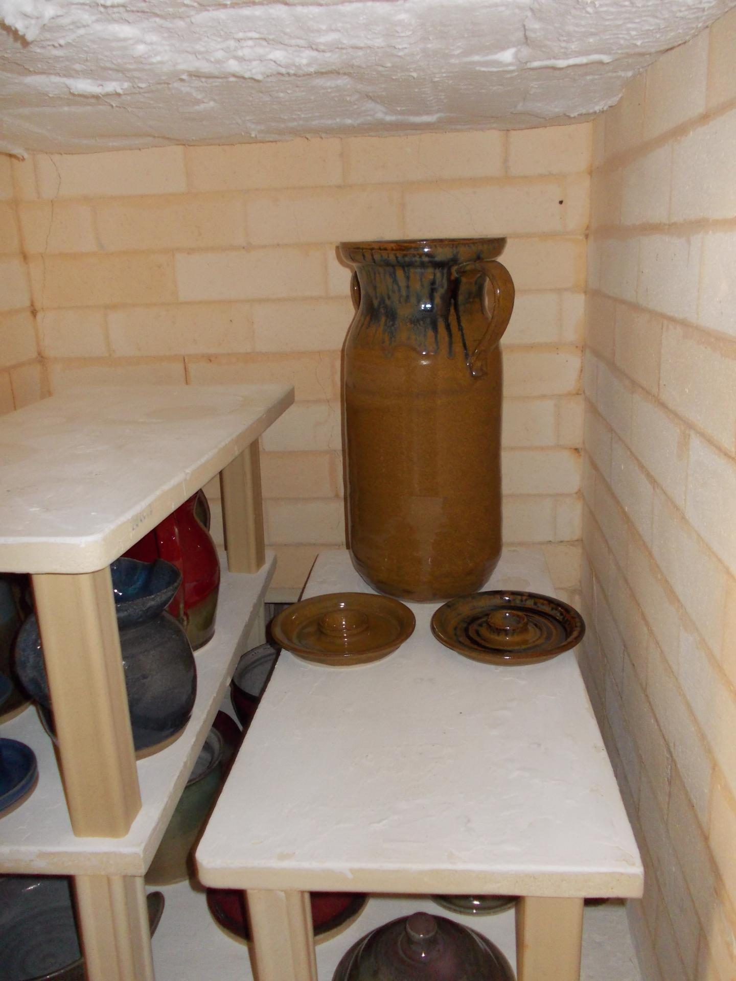 Glazed Churn in Kiln