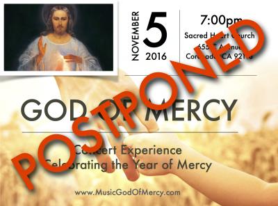 "POSTPONED - ""God of Mercy"" Concert Experience, Sacred Heart Church, Coronado, CA"