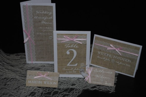 Burlap and lace wedding stationery and invitations