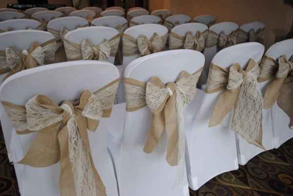 Chair covers with Hessian & lace sash