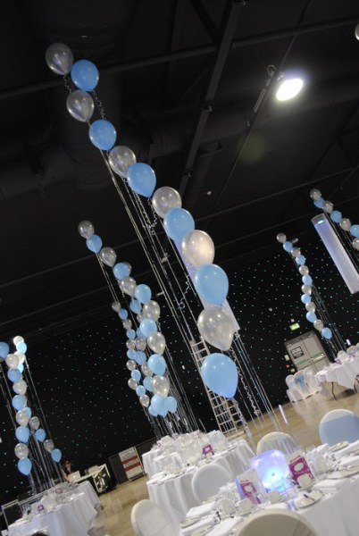 Blue & silver balloons in led orbs