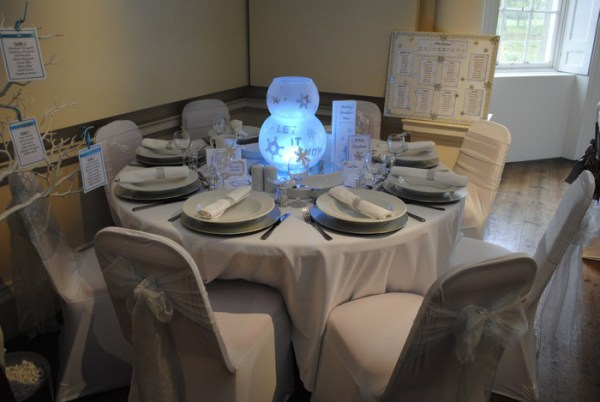 LED Orb snowflake print table decoration