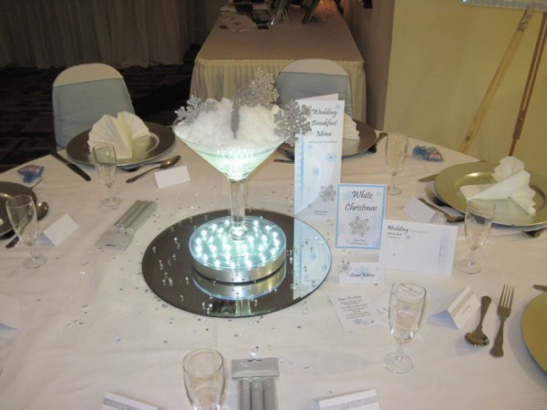 Snowflake small martini glass table centrepiece