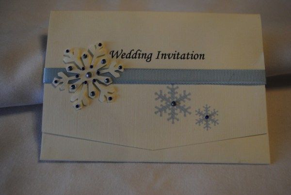 Snowflake pocket fold invitation