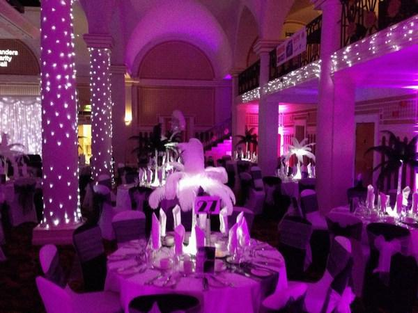 pink uplighting and twinkle columns
