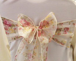Vintage floral chair cover sash hire