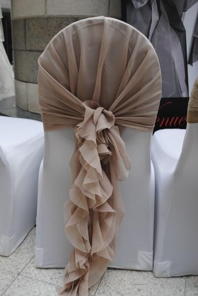 Nude hood & ruffle tail waterfall chair sash hire