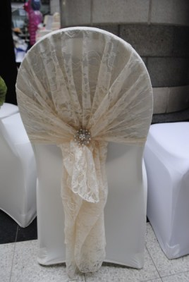Lace hood chair cover sash hire