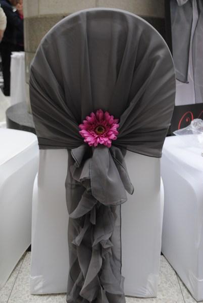 Grey hood & ruffle tail waterfall chair sash hire