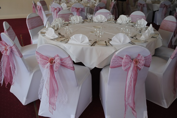Lace chair cover sash hire