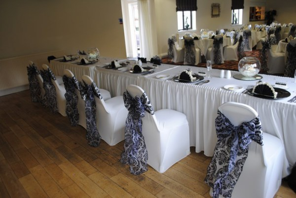 Damask flock chair cover sash hire