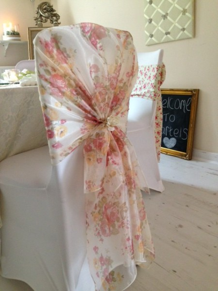 Vinage floral hood chair cover sash hire