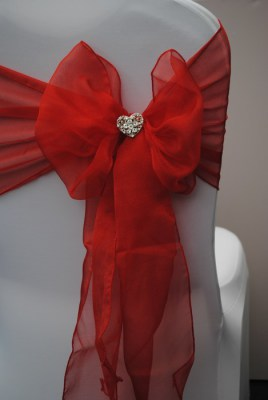 Diamante loveheart brooch for chair covers