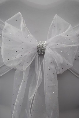 Silver diamante wraps for chair cover sash